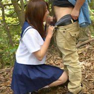 【水本綾】誰もいない林の奥で女子校生といいことしちゃう